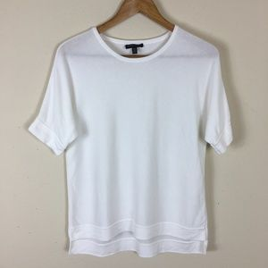 Eileen Fisher White Yarn Short Sleeve Sweater PM